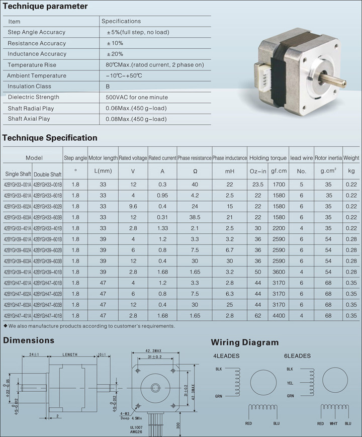 Stepper motor nema 23 datasheet for Nema stepper motor sizes