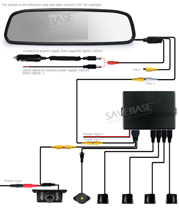 Clip On LCD Mirror Car Reverse Radar Rearview 4 Parking