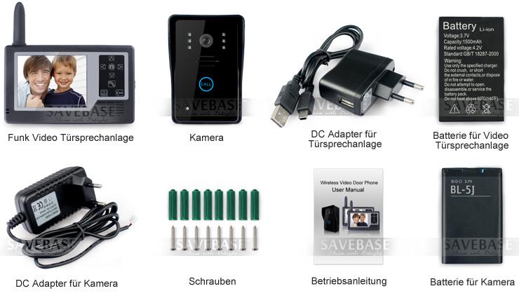 video sprechanlage funk mit monitor klingel und kamera. Black Bedroom Furniture Sets. Home Design Ideas