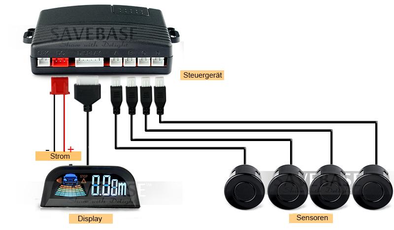 einparkhilfe r ckfahrwarner parkhilfe 4 sensoren display. Black Bedroom Furniture Sets. Home Design Ideas