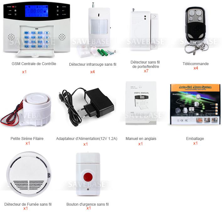kit alarme maison sans fil gsm sms appel automatique cran lcd d tecteur fum e ebay. Black Bedroom Furniture Sets. Home Design Ideas