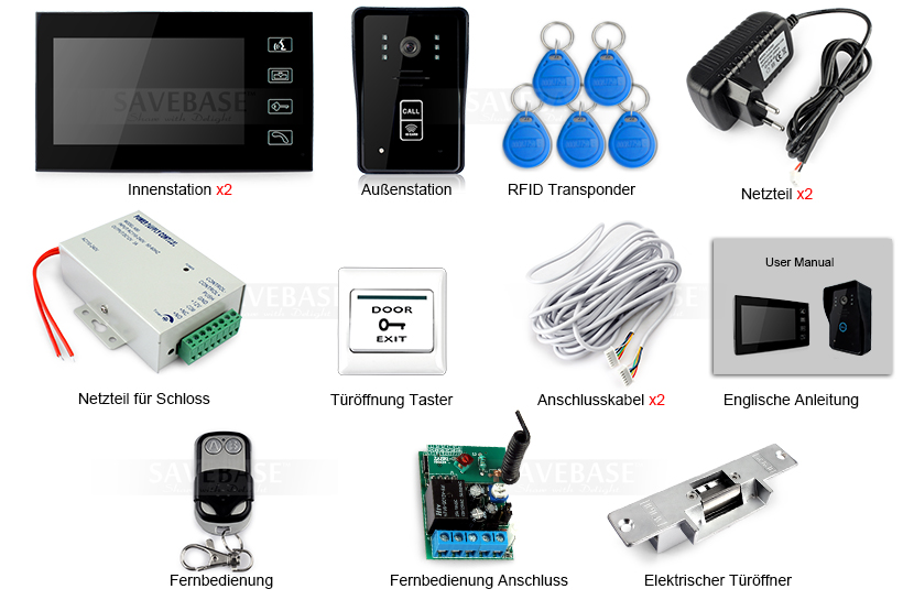 lcd video t rsprechanlage ir kamera farbige monitor t r ffner rfid transponder ebay. Black Bedroom Furniture Sets. Home Design Ideas