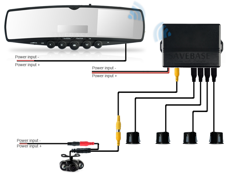 wireless camera wiring diagram wireless reverse camera wiring diagram car rearview mirror monitor fm wireless +ir reversing camera +4 parking radar | ebay #4