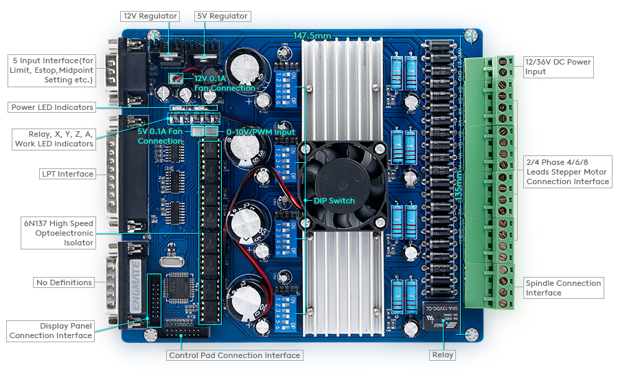 Details about 4 Axis TB6560 Stepper Driver Set PC, Keypad Switched on