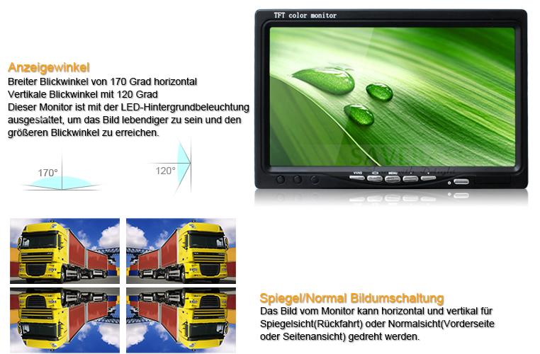 12v 24v 2x4pin ir ccd r ckfahrkamera 7 monitor f r. Black Bedroom Furniture Sets. Home Design Ideas