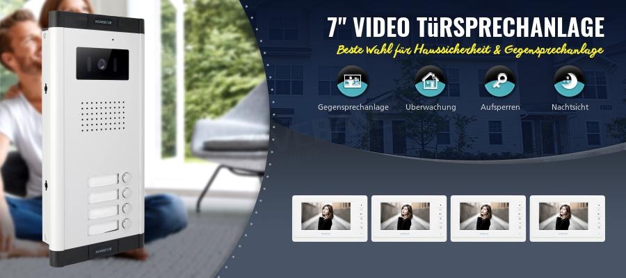 7 4 draht video gegensprech t rsprechanlage nachtsicht kamera f r 4 familien ebay. Black Bedroom Furniture Sets. Home Design Ideas